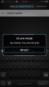 Die MEldung in Drunk Mode veim Versuch eine Nachricht zu versenden
