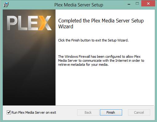 Abgeschlossene Installation von Plex