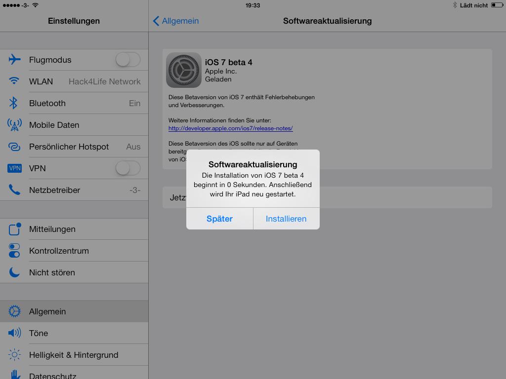 iOS 7 beta 4 - die Änderungen im Überblick - Meldung bei der Installation von iOS 7 beta 4Hack4Life