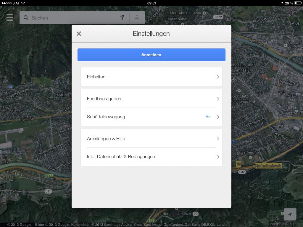 Google Maps 2.0 - Einstellungen - iPad Version - Hack4Life
