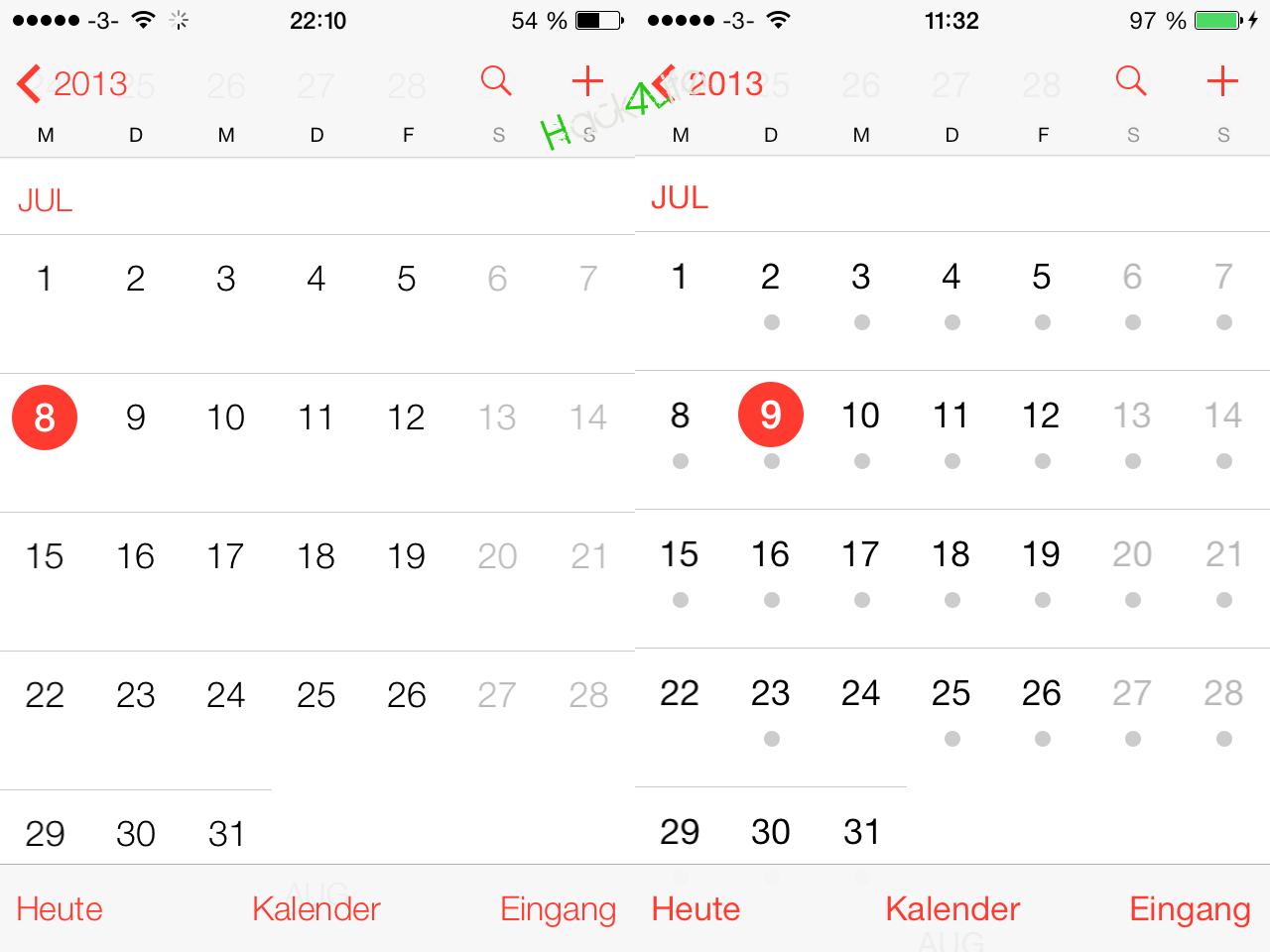 iOS 7 beta 3 zeigt Ereignisse mit Punkten