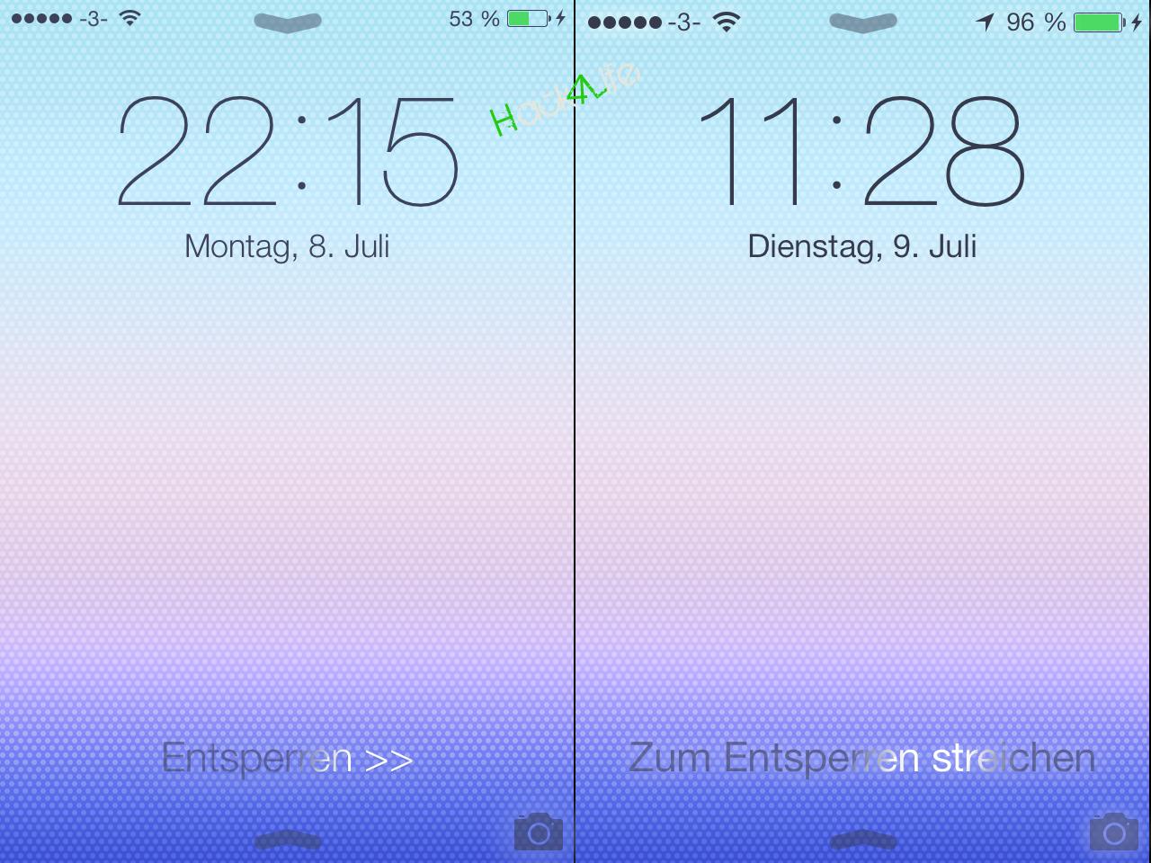 Der Unlock Text wurde verändert sowie die Größe der Statusbar etwas angepasst, iOS 7 beta 3