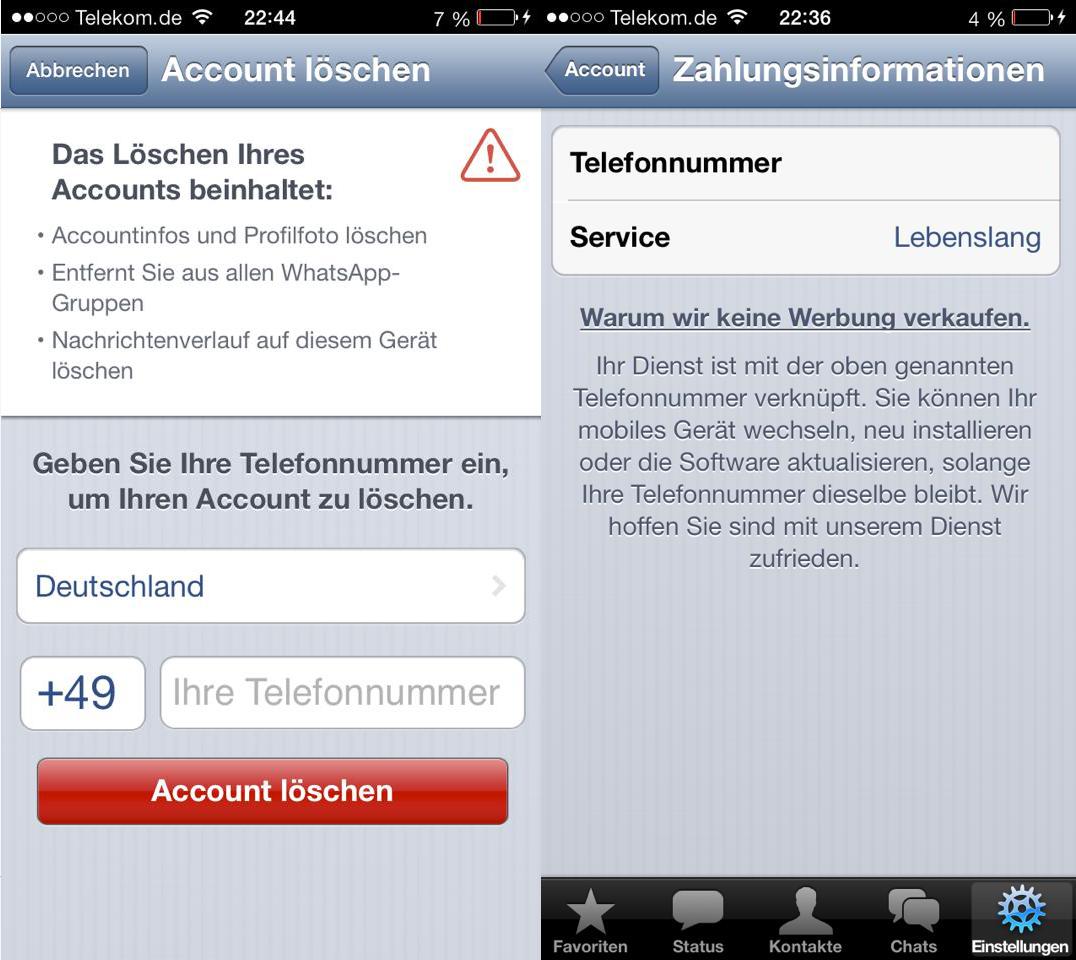 Zahlungsinformation bei WhatsApp - Umstieg auf Abo Modell - Hack4Life
