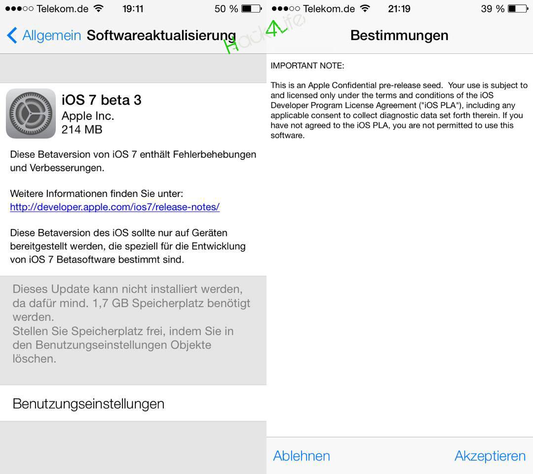 Zu der Installation von iOS 7 beta 3 muss zugestimt werden