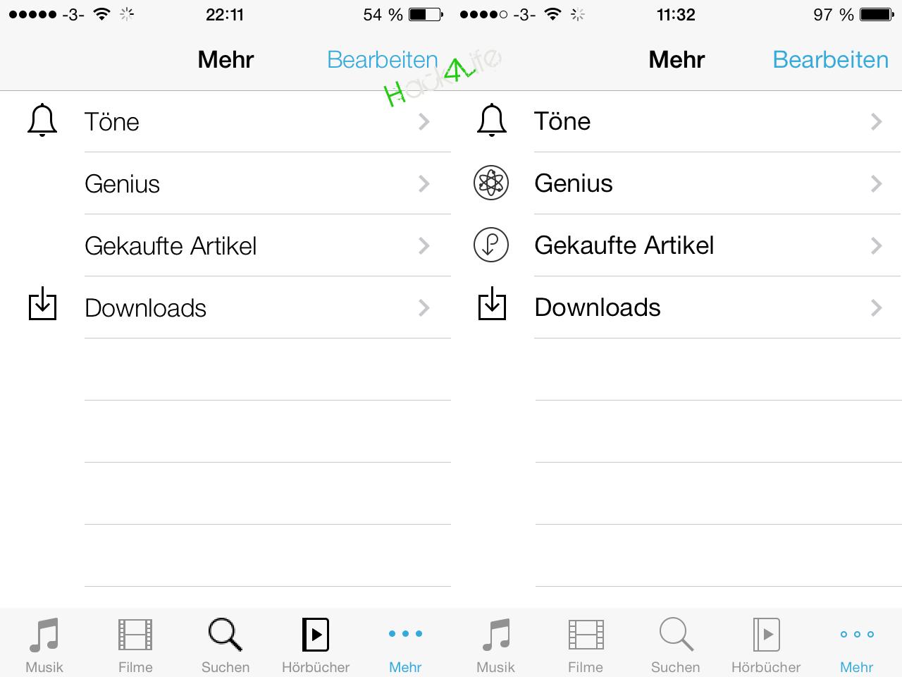 iTunes - angepasste Icons, Bug Fixes