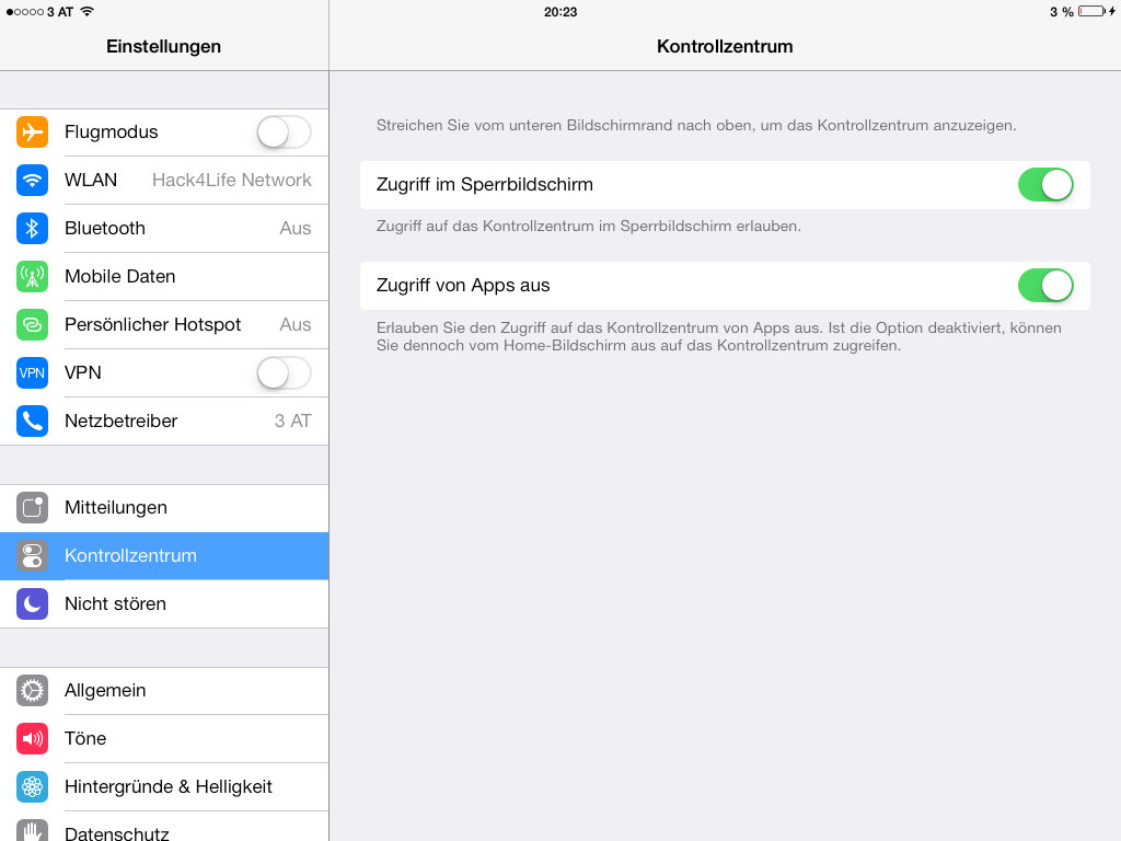 Kontrollzentrum in Apps deaktiveren - iOS 7 beta 5 | Hack4Life