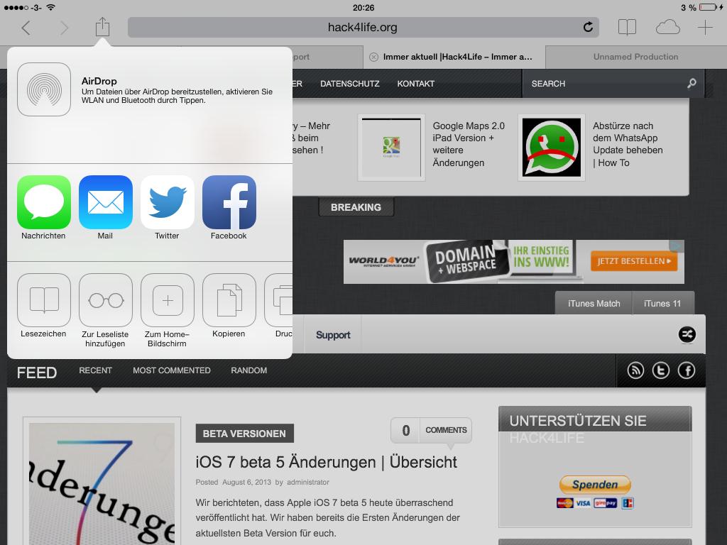 Im Safari Browser gibt es ein neues Twitter Icon in iOS 7 beta 5 - Hack4Life