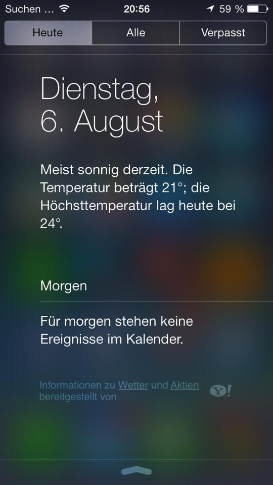Informationen zu Wetterdaten und Aktien im Notificationscenter - iOS 7 beta 5 | Hack4Life