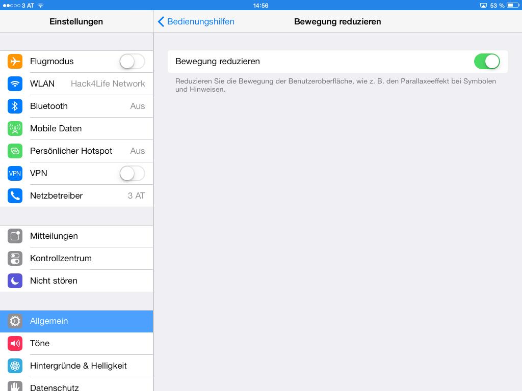 Parallaxe Effekt - Bewegung reduzieren - iOS 7 Entschlüsselt - Tipp - Anleitung - Tutorial - Hack4Life