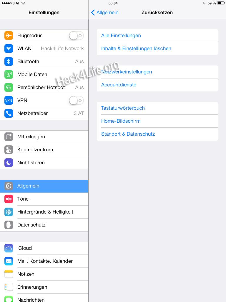 Alle Einstellungen zurücksetzten - Tastaturprobleme unter iOs 7 auf dem iPad beheben - iOS 7 Entschlüsselt - Tipp - Trick - Anleitung - How-To - 7.0.2, 7.0.1, Hack4Life