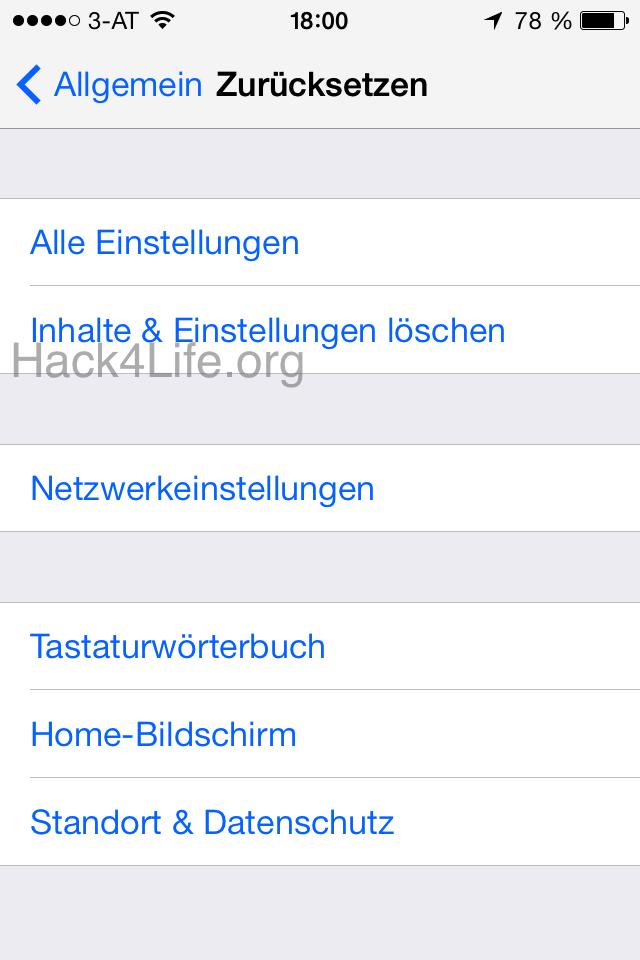 Alle Einstellungen zurücksetzen - App Store Abstürze - iTunes U Abstürze - iBook Store Abstürze - iTunes Store Abstürze beheben - iOS 7 - iOS 7 Entschlüsselt - Anleitung - How-To - Tipp - Trick - Hack4Life
