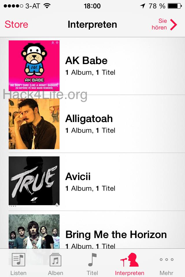 Über die Musik App den iTunes Store öffnen - iTunes Store Abstürze beheben - iOS 7 - iOS 7 Entschlüsselt - Anleitung - How-To - Tipp - Trick - Hack4Life