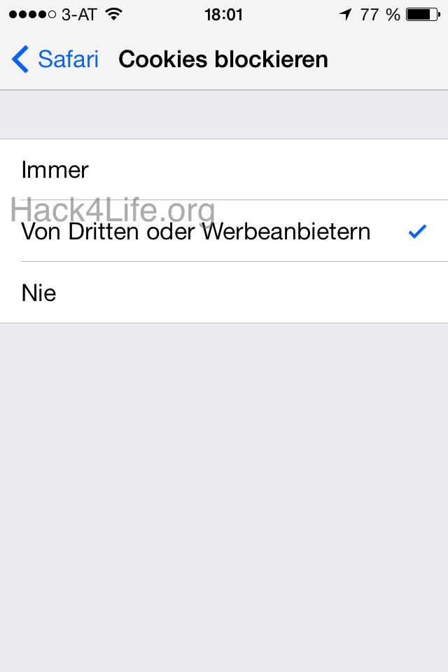 Cookies blockieren - Safari - iOS 7 - iOS 7 Entschlüsselt - Apple - iTunes Store - App Store - iTunes U - iBook Store - Hack4Life