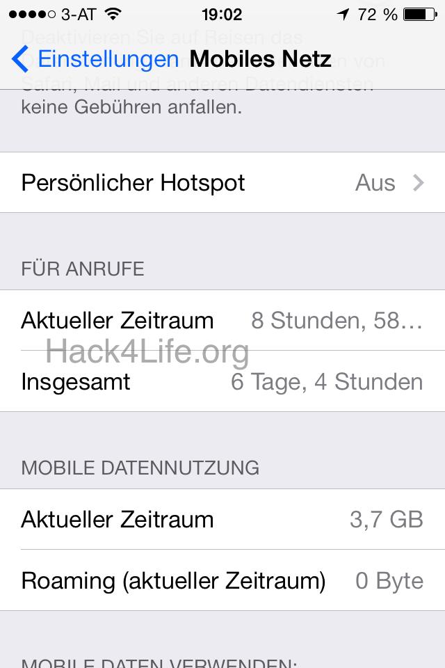 Datenverbrauch anzeigen - iOS 7 Entschlüsselt - iPhone - iPad - Anleitung - Tipp - Trick - Benutzung - Mobiles Netz - verschwunden - Funktion - Hack4Life