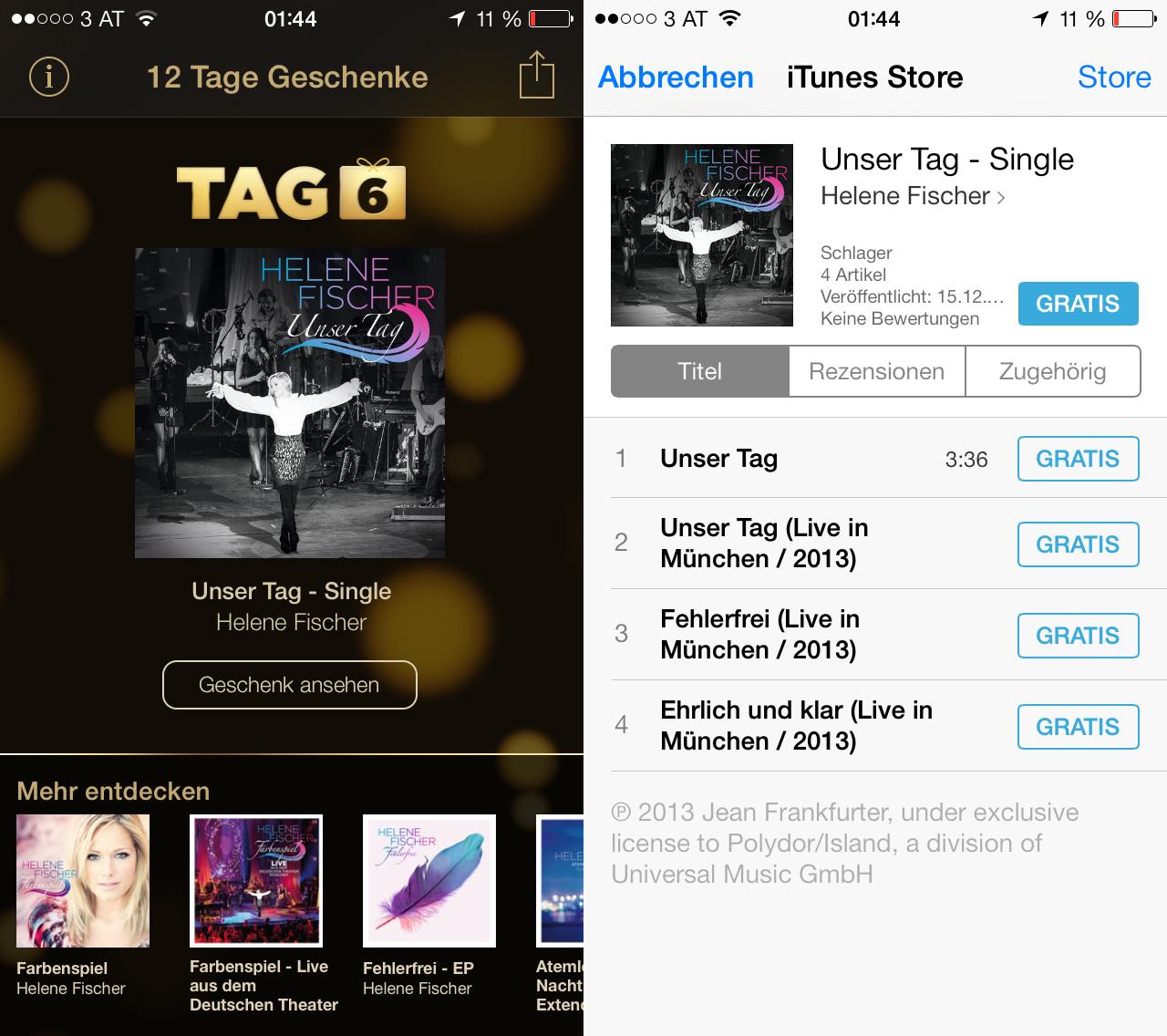 iTunes 12 Tage Geschenke - Tag 06: Unser Tag von Helene Fischer zum kostenlosen Download, Hack4Life, Anleitung, gratis, App, Fabian Geissler
