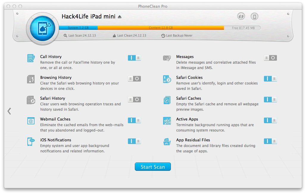 PhoneClean, Review, Hack4Life, Gewinnspiel, Funktionen, Download, iMobie, DeepClean, Anleitung