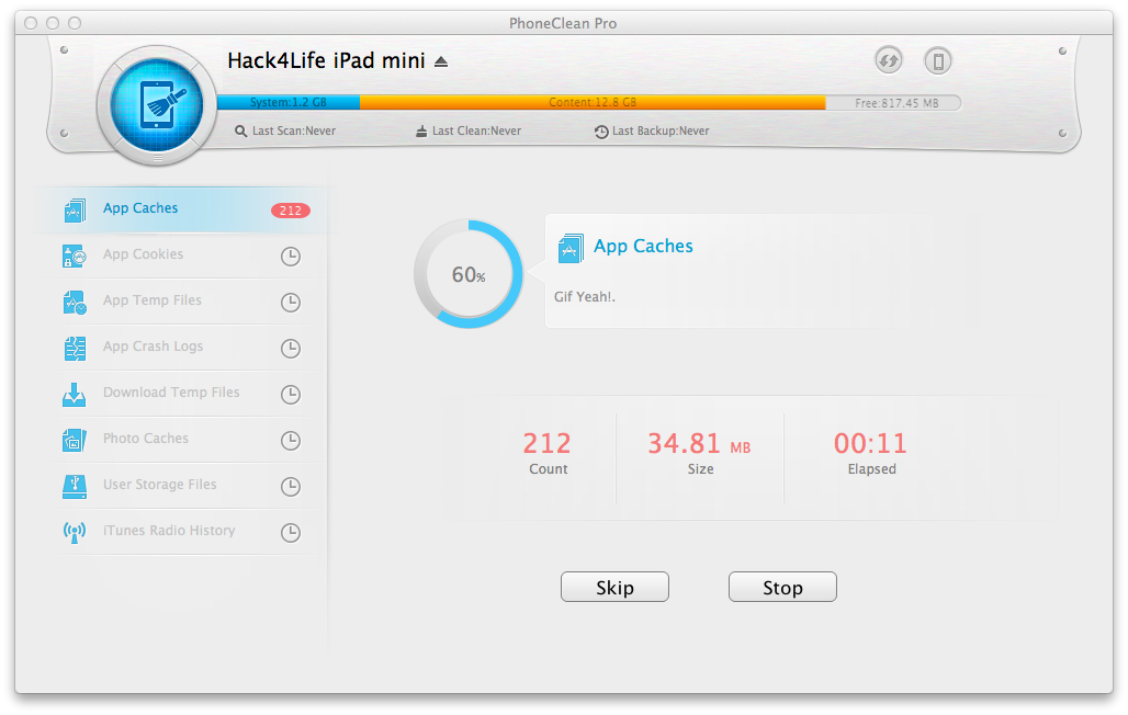 PhoneClean Pro, iMobie, Giveaway, Gewinnspiel, Review, Hack4Life, Test, Anleitung,Jailbreak, Quick Scan, Fortschirtt