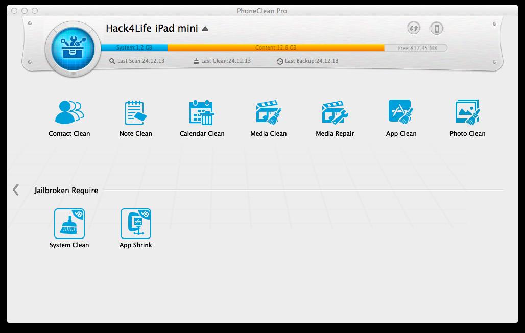 PhoneClean, Review, Hack4Life, Gewinnspiel, Funktionen, Download, iMobie, Toolbox, Werkzeugkasten, Jailbreak, App komprimieren, Anleitung