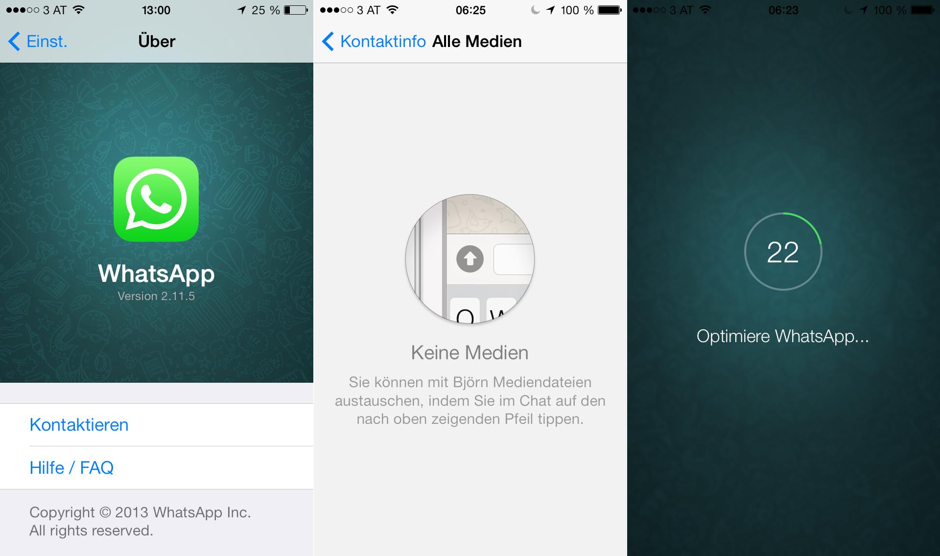WhatsApp iOS 7 Update - Änderungen Hack4Life Review - Optimieren - Einstellungen - Versionsnummer - 2.11.5