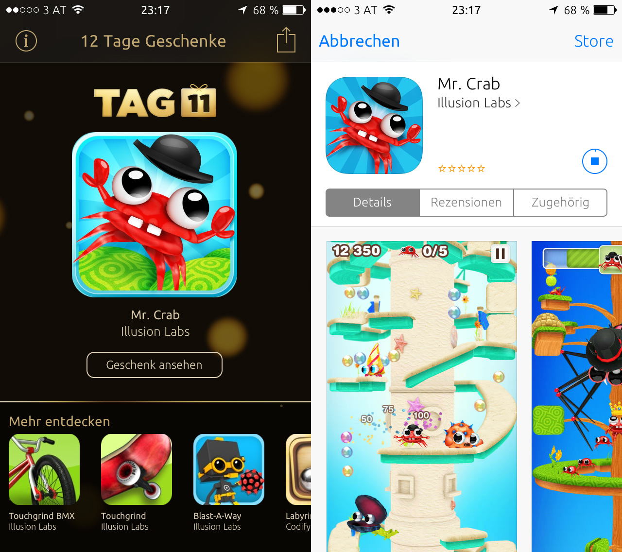 12 Tage Geschenke App Tag 11: Mr. Crab - Kostenlos, download, review, ios 7, hack4life, Fabian Geissler, iphone, ipod touch, ipad, apple, itunes, gratis