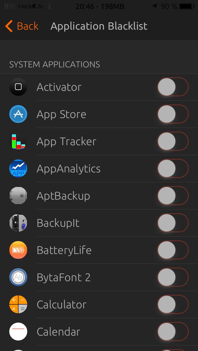 Black List in den Einstellungen von Eclipse, Hack4Life, App, Cydia, Tweak, Fabian Geissler
