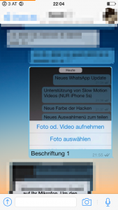 Beschriftungen in WhatsApp, Android Problem