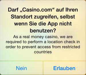 Standort Zugriff, Casino.com, Hack4Life, Fabian Geissler