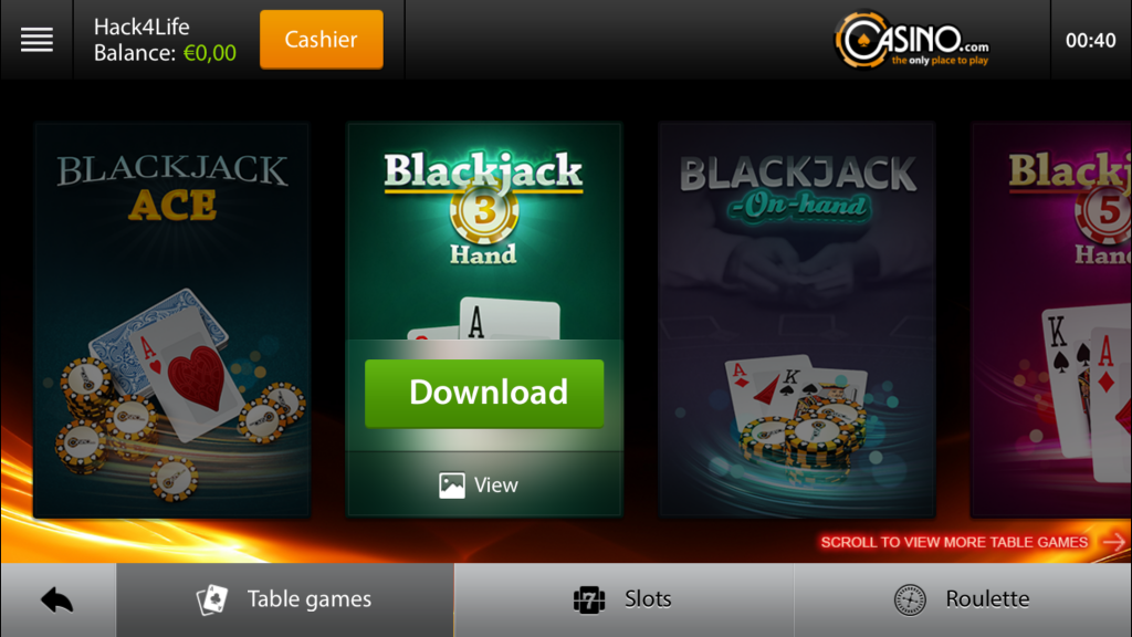 Table games, Hack4Life, Fabian Geissler, Casino.com, App, Review, kostnelos, iTunes, gratis, free