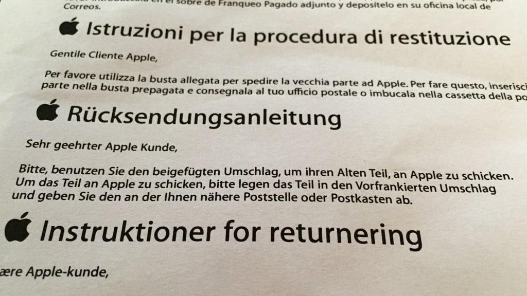 Rücksendungsanleitung der betroffenen Netzstecker, Apple, Hack4Life, Fabian Geissler