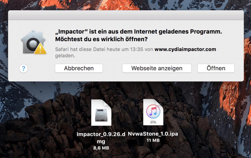 Öffnen von Cydia Impactor bestätigen