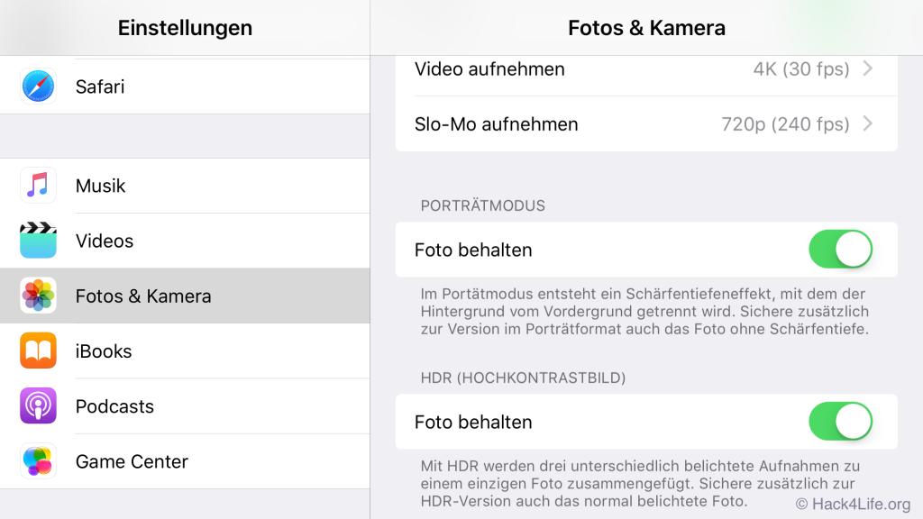 iPhone 7 Plus, iOS 10.1, Porträtmodus, Optionen, Speicher optimieren, Foto behalten, Hack4Life, Fabian Geissler, Tipp, Trick, Anleitung, So funktionierts