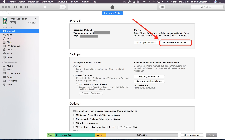 Wiederherstellen auf iOS 10 in iTunes - Hack4Life