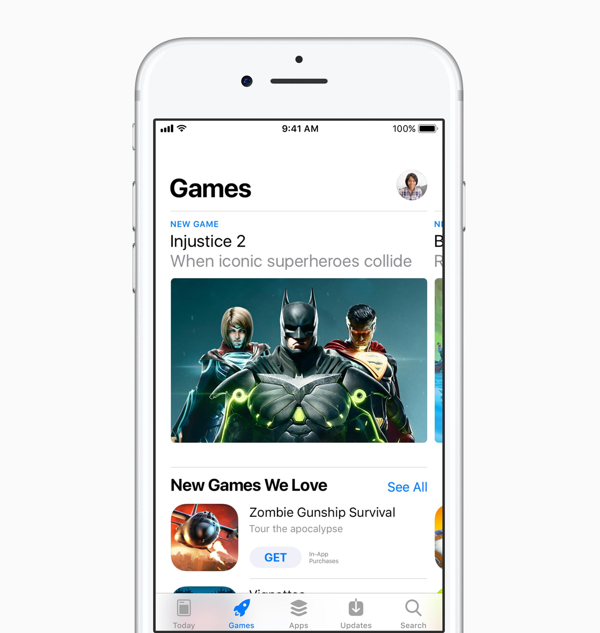 Spiele Ansicht, AppStore in iOS 11