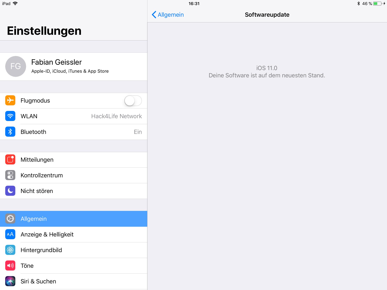 iOS 11 auf dem iPad installieren