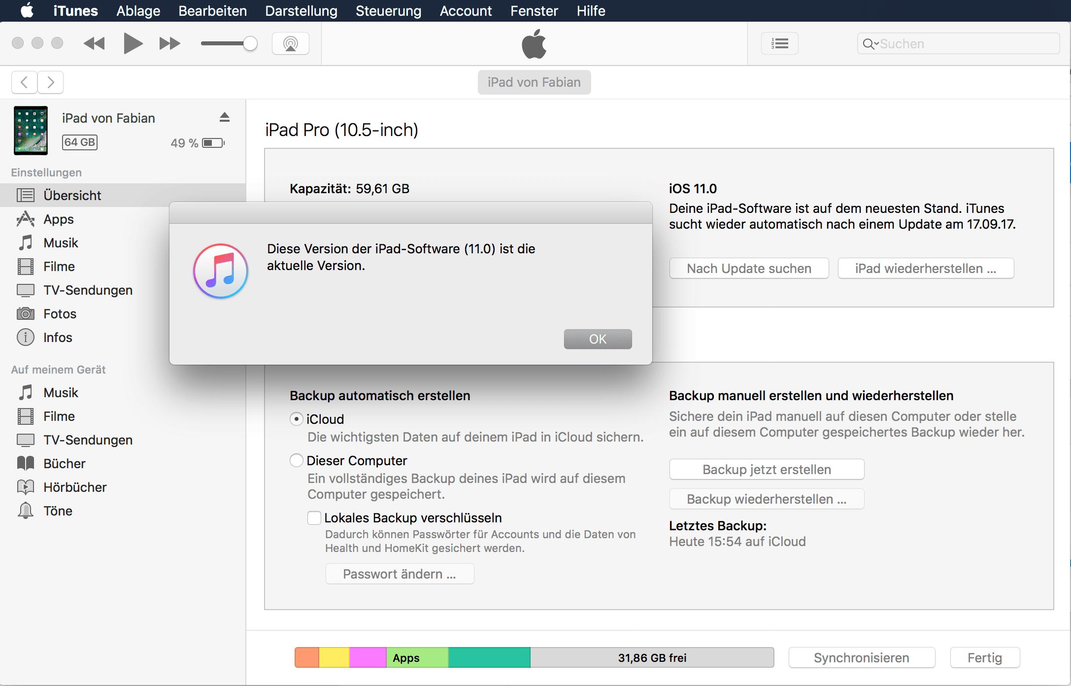 iOS 11 über iTunes installieren, Anleitung