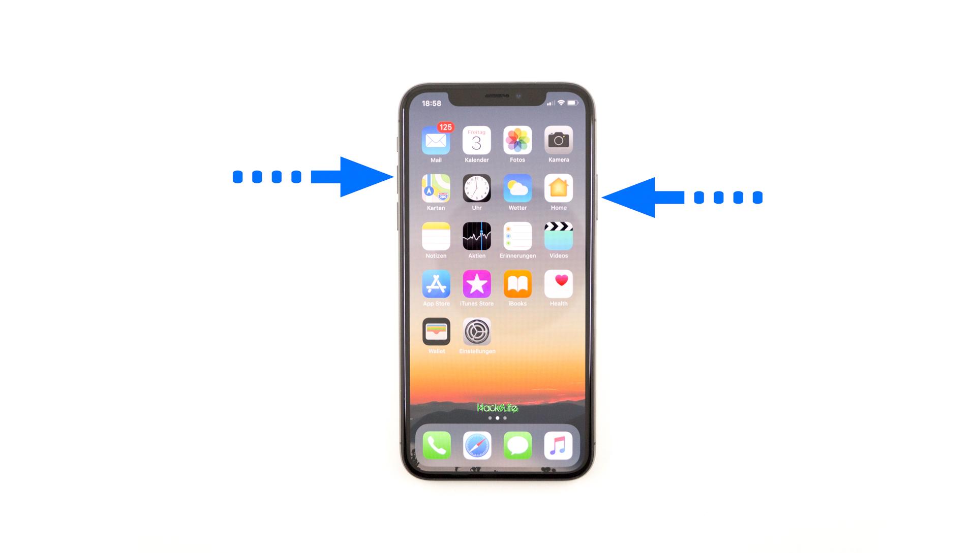 Shortcut zum erstellen eines Screenshots auf dem iPhone X, Hack4Life, Fabian Geissler