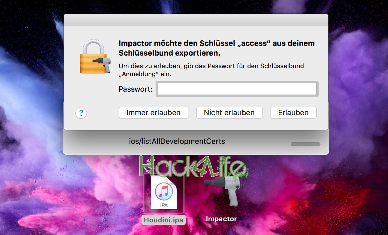Cydia Impactor Zugriff auf den Schlüsselbund gewähren, Houdini, Jailbreak, Hack4Life, Anleitung, Fabian Geissler