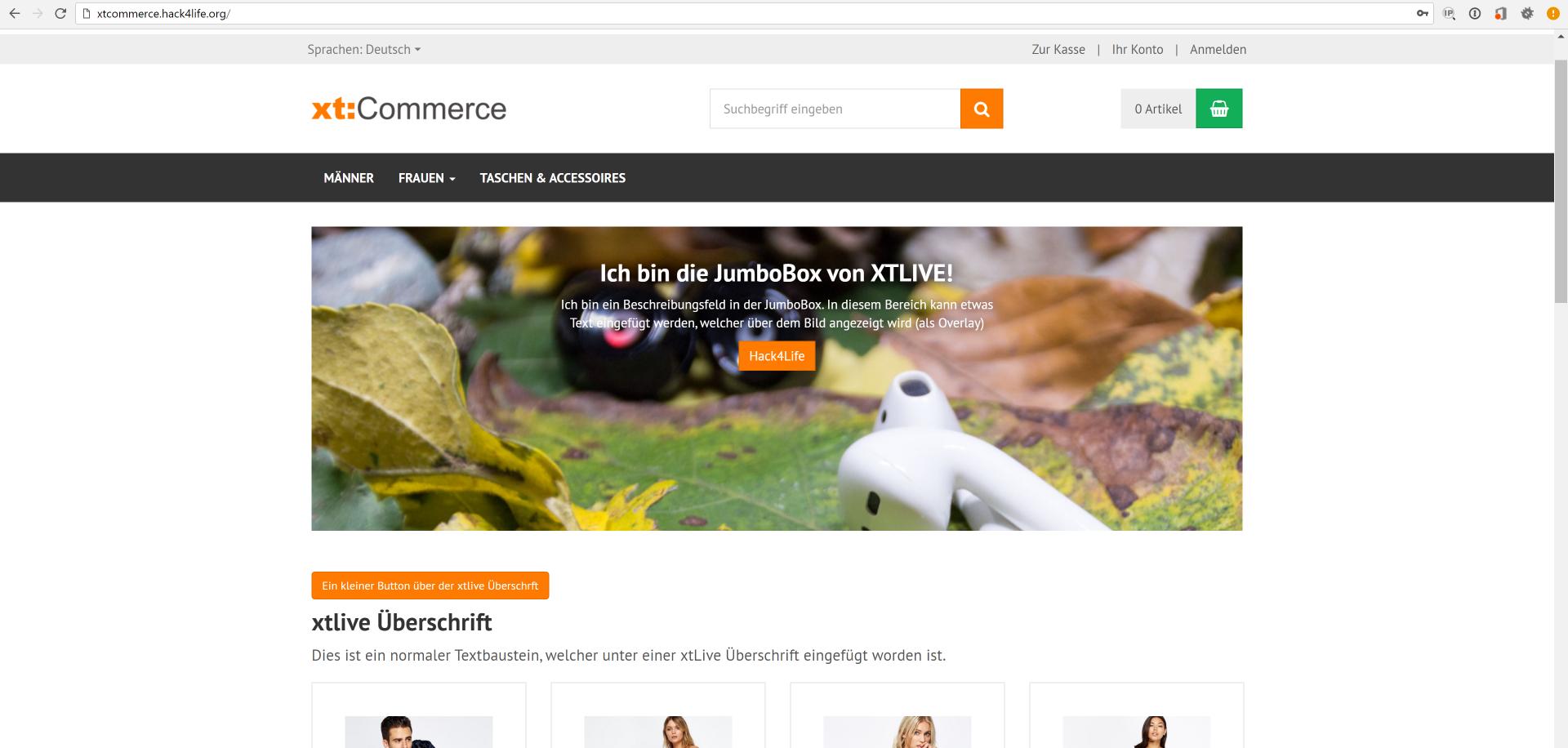 XTLive Jumbo Box im xt:commerce Shop, XTLive, Hack4Life, Fabian Geissler, Test, XeroGrafix, xgx