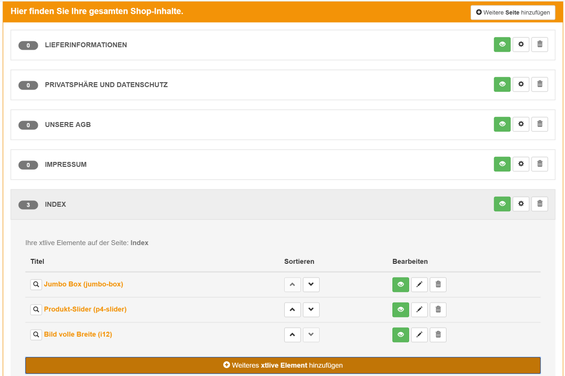 XTLive Elements Übersicht, XTLive, xt:commerce, Hack4Life, Fabian Geissler, Test, XeroGrafiX, xgx