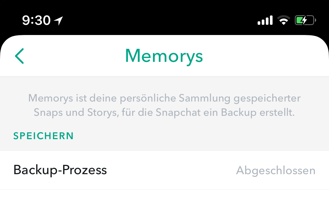 Backup von Memorys, Hack4Life, Snapchat