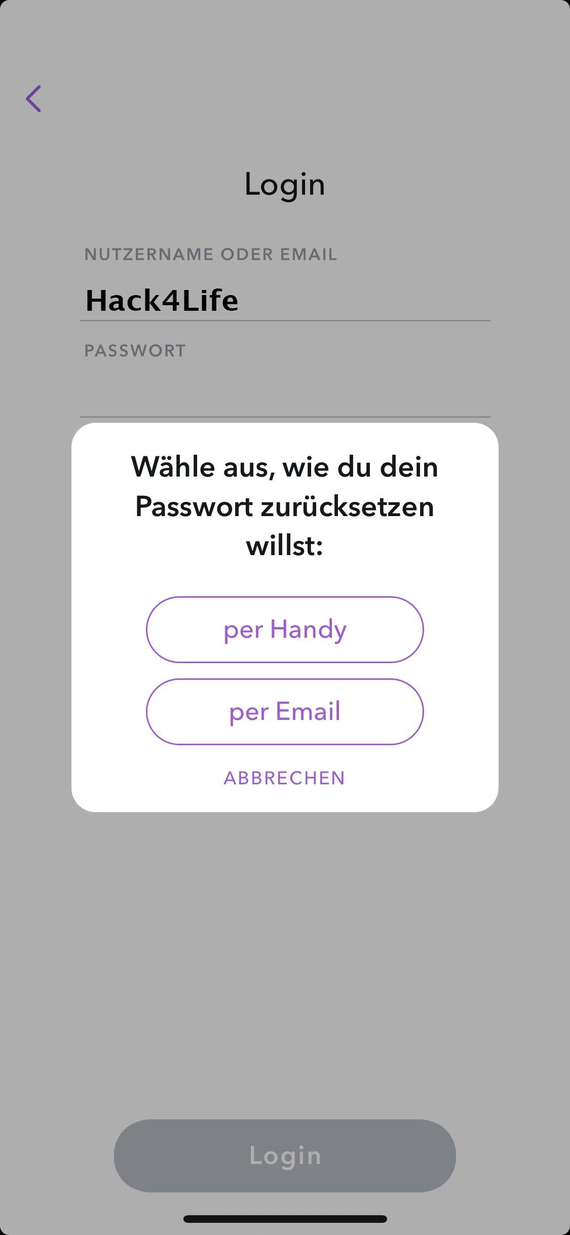 Passwort per Handy zurücksetzen, Hack4Life, Snapchat