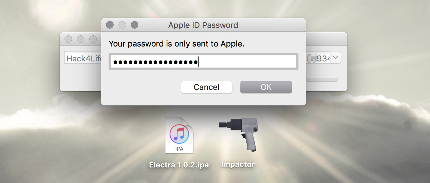 Passwort für die AppleID eintragen, Cydia Impactor, Electra iOS 11 Jailbreak Anleitung, Hack4Life, Fabian Geissler