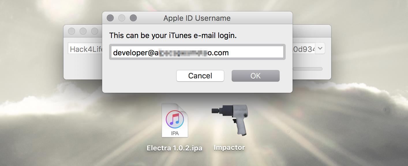 Anmeldung über die AppleID, Cydia Impactor, Electra iOS 11 Jailbreak Anleitung, Hack4Life, Fabian Geissler