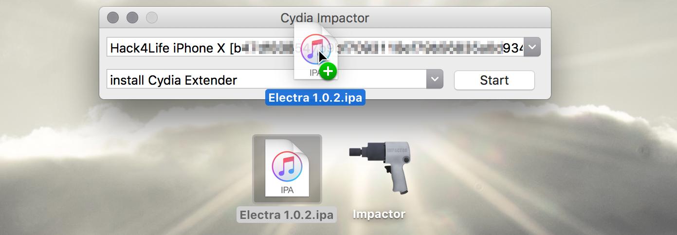 Electra in Cydia Impactor hineinziehen, iOS 11 Jailbreak Anleitung, Hack4Life, Fabian Geissler, iOS 11