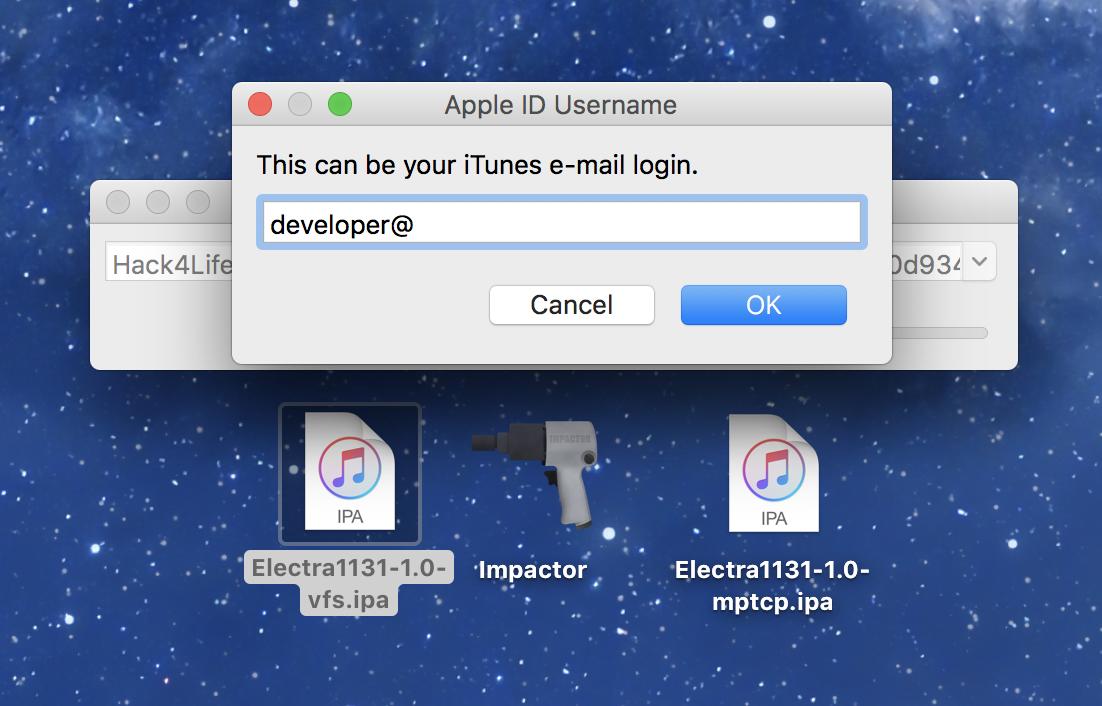 Mit der AppleID in Cydia Impactor anmelden, Electra 11.3.1 Jailbreak Anleitung von Hack4Life