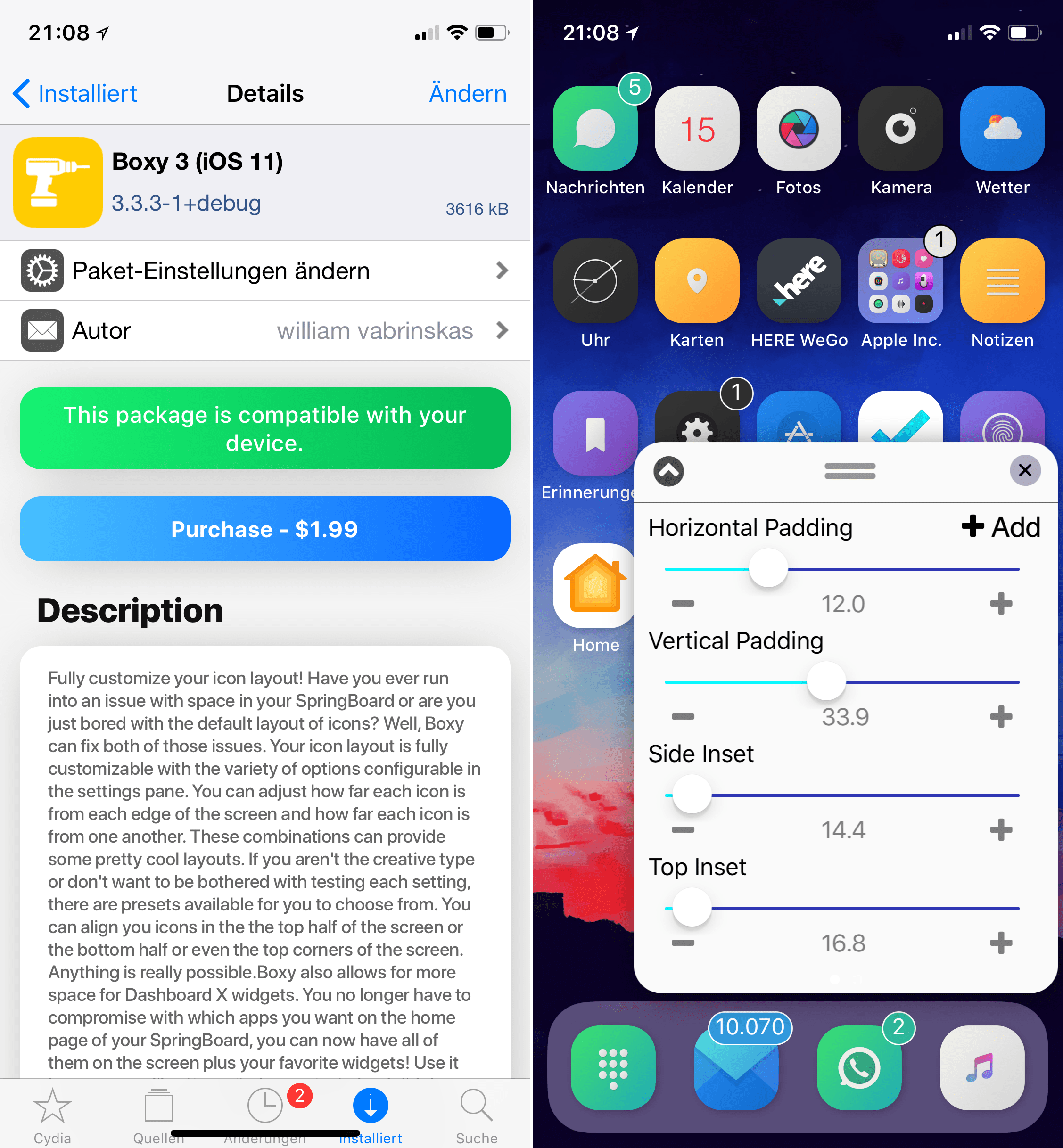 Homescreen Layout bearbeiten mit Boxy 3, Cydia, Tweak, Top, Hack4Life, Fabian Geissler