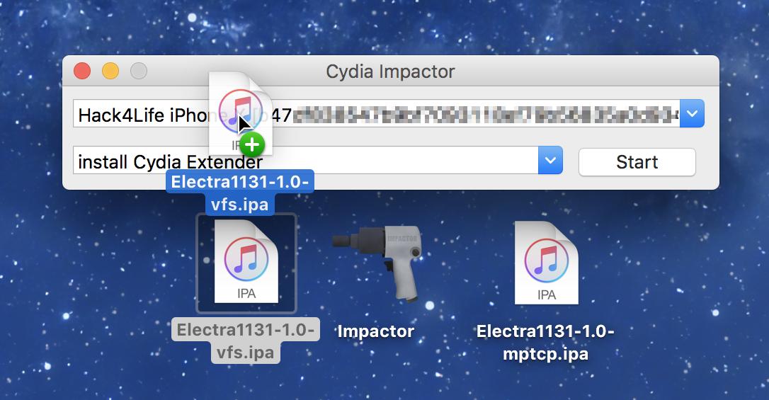 Electra in Cydia Impactor hineinziehen, iOS 11.3.1, Jailbreak Anleitung von Hack4Life