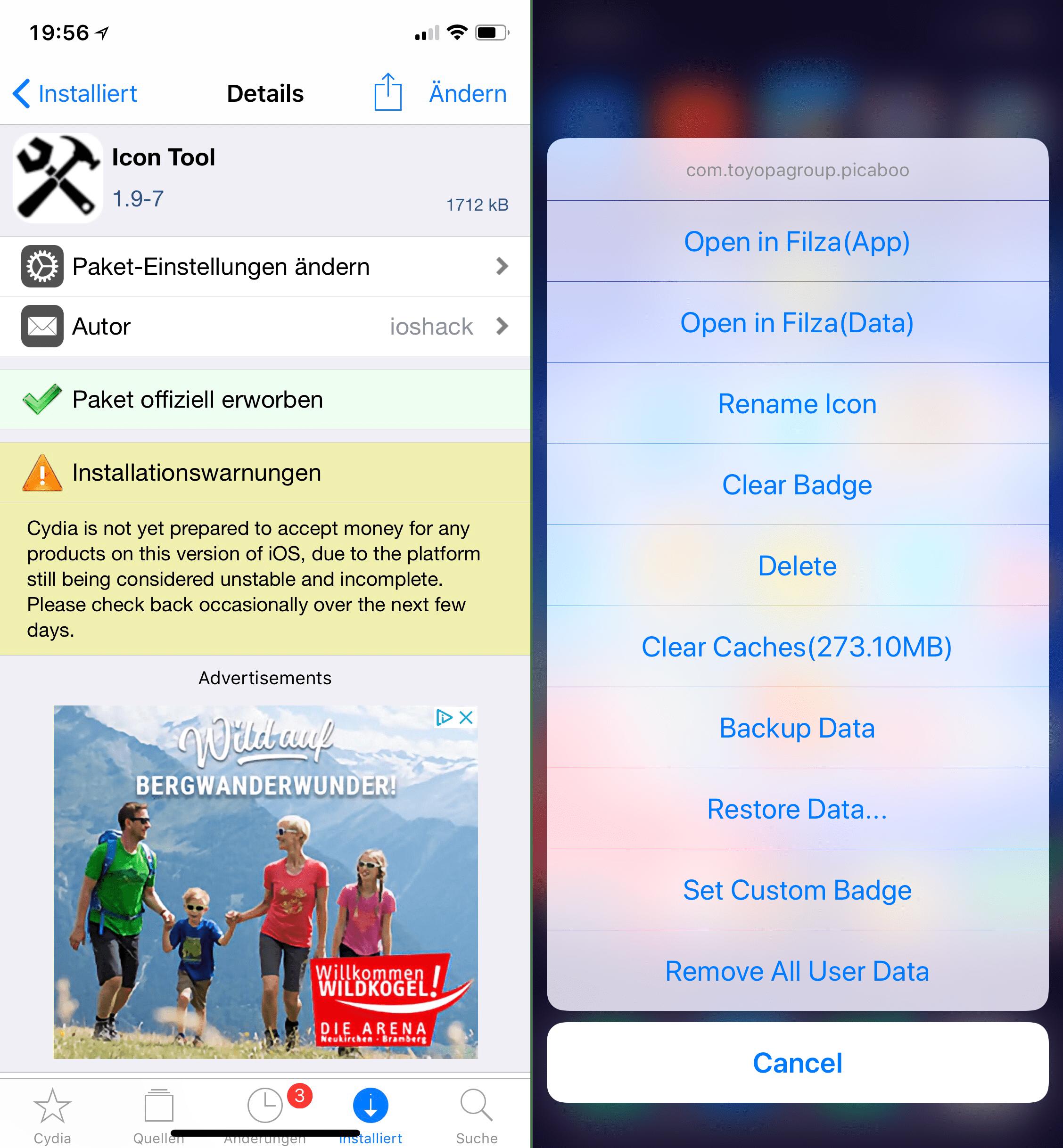 Apps in Filza öffnen, Cache leeren & mehr, Top, Cydia, Tweaks, Ausgabe 3, IconTool, Hack4Life, Fabian Geissler