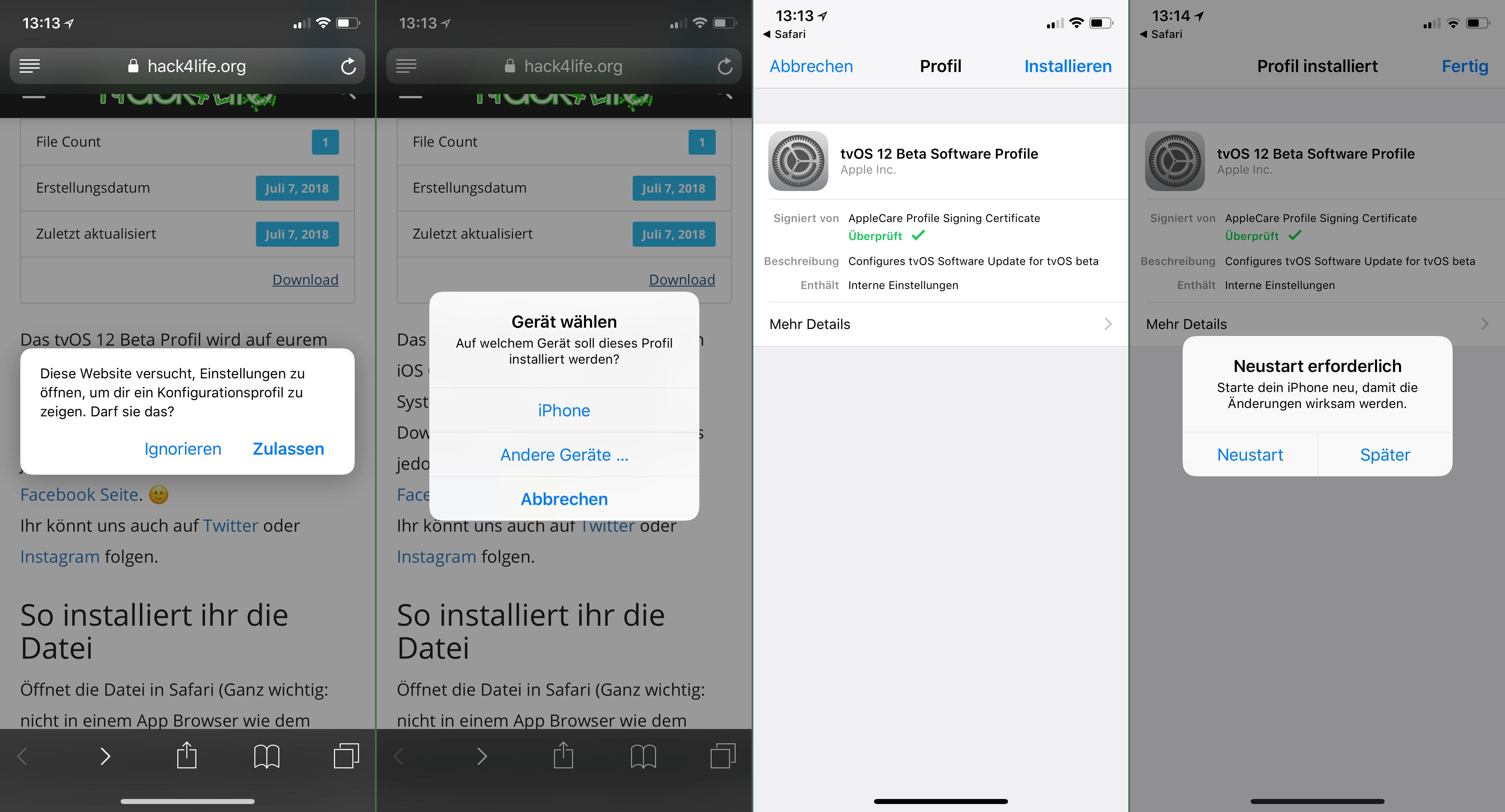 tvOS 12 Beta Profil - Hack4Life - Immer aktuell