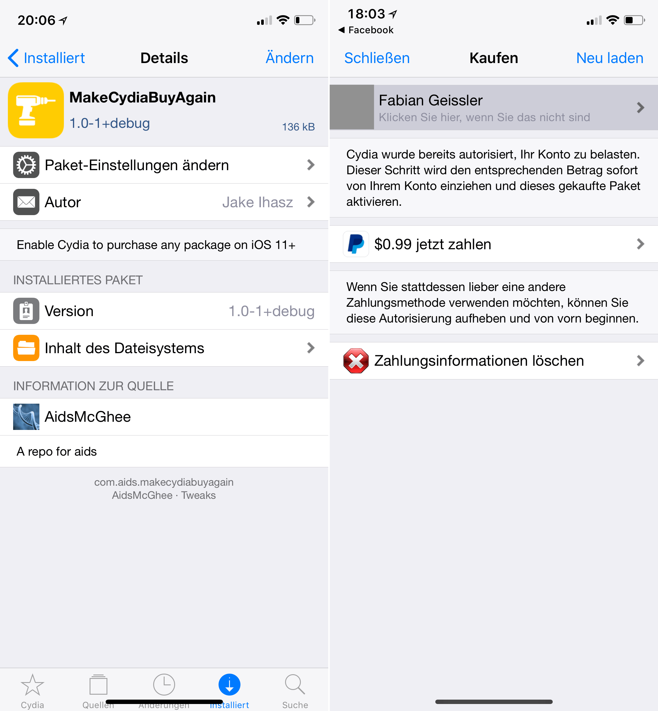 MakeCydiaBuyAgain, iOS 11, Tweak, Cydia, Top Cydia Tweaks, Hack4Life, Fabian Geissler